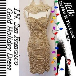 I.N. San Francisco Ruched Holiday Dress-Junior 7